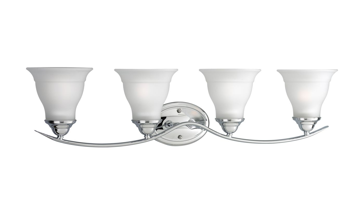 Progress Lighting Lucky Collection 4 Light Brushed Nickel: Progress Lighting P3193-15 Polished Chrome Trinity 4 Light