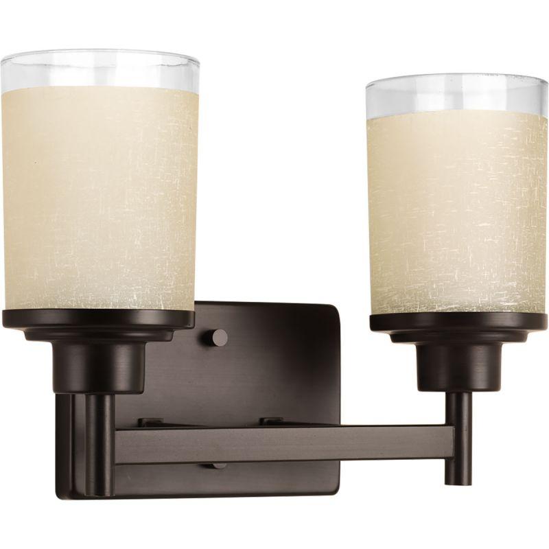 Progress Lighting P2977-20 Antique Bronze Alexa 2 Light Bathroom Vanity Light with Textured ...