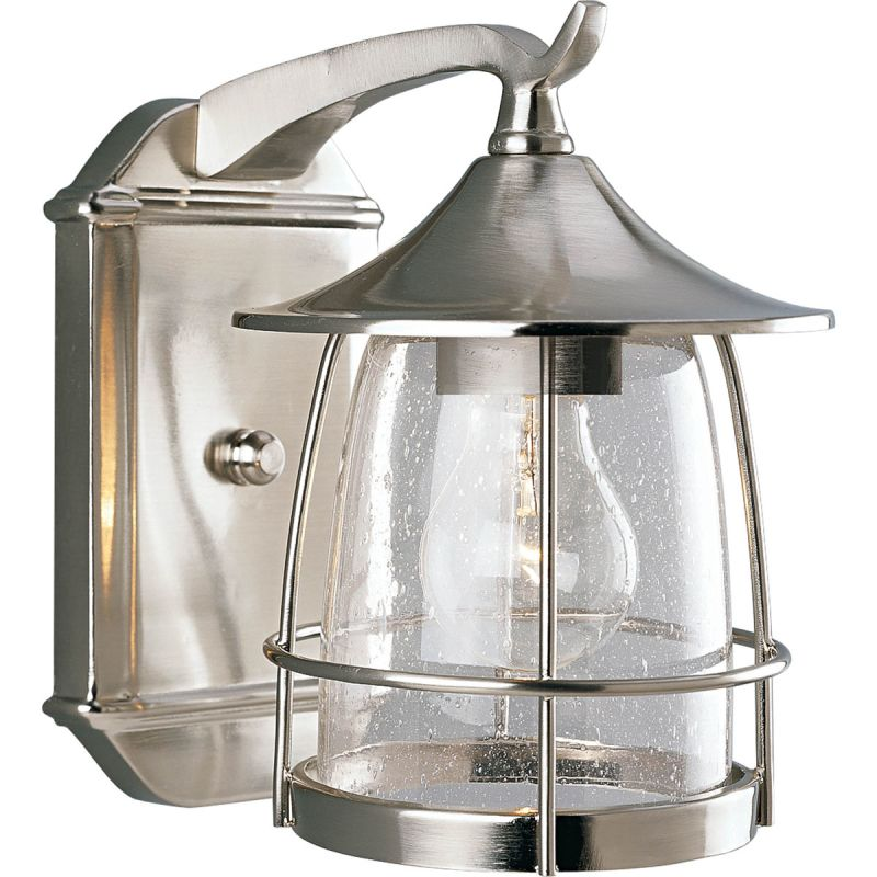 Progress Lighting P5763-09 Brushed Nickel Prairie 1 Light Outdoor Wall Sconce with Seedy Glass ...