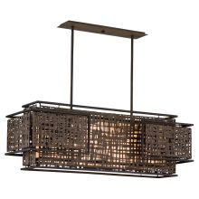 Shoji 4 Light Linear Chandelier with Hand Crafted Iron Frame and Handmade Japanese Paper Accents