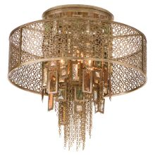 Riviera 4 Light Semi-Flush Ceiling Fixture with Hand Crafted Iron Frame and Multi-Colored Cut Glass Jewels