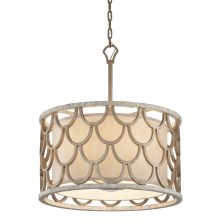 Koi 5 Light Pendant with Hand-Crafted Iron and Mother of Pearl Frame and Beige Hardback Linen Shade