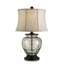 Vetro 1 Light Metal Table Lamp with Oatmeal Linen Shade