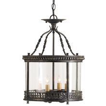 Grayson 4 Light Ceiling Lantern with Antique Candle Sleeves from the Lillian August Collection