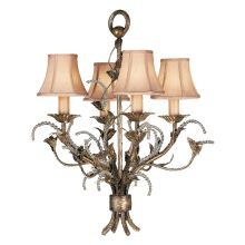 A Midsummer Night's Dream Four-Light Single-Tier Chandelier with Bead Accents and Linen Shades