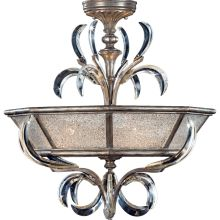 "Beveled Arcs 26"" Diameter Three-Light Semi-Flush Mount Beveled Crystal Ceiling Fixture"
