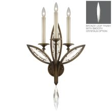 3 Light Wall Sconce in Antique Hand Rubbed Bronze Finish with Smooth Polished Crystals from the Marquise Collection