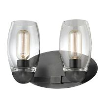 Pamelia 2 Light Bathroom Vanity Light with Mouth-Blown Glass Shade and Tungsten Filament Bulbs