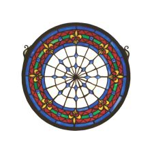 Tiffany Stained Glass Medallion Window Pane from the Fleur-De-Lis Collection