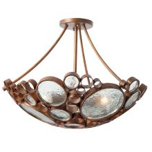 Fascination 3 Light Hand Forged Recycled Steel Semi Flush Mount Ceiling Fixture